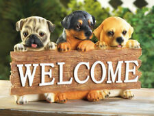 Welcome home dog puppy Pug Rottweiler Labrador lab outdoor garden sign statue