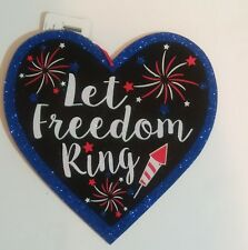 """Patriotic 4th Of July Glitter """"Let Freedom Ring"""" Firework Faux Wood Hanging Sign"""