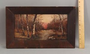 Small Signed 19thC Antique Sunset Landscape Birch Tree Oil Painting, No Reserve!