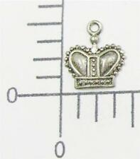 54334 6 Pc Matte Silver Victorian Crown Charm Jewelry Finding