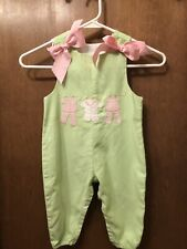 Girls BAILEY BOYS Green Gingham Long Romper Bows Size 12 Month