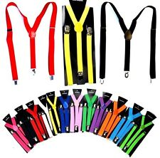 New Colors Mens Womens Clip-on Suspenders Elastic Y-Shape Adjustable Braces