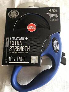 Great Choice Reflective & Retractable 16' ft Dog Tape Leash Tough Blue XLarge
