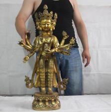 Tibet Bronze Copper Gild Four Face Head Eight Arm Hands Kwan-yin Buddha Statue