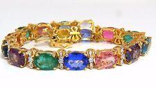33.21ct natural Sapphire Garnet Emeralds Spinel Tourmaline Zircon Bracelet 14KT+
