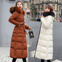 Winter Women Quilted Fur Hooded Long Coat Down cotton Ladies Puffer Jacket Parka