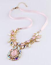 Collar Colgante Gota Rosa Cristal Lazo Moderno Original Matrimonio ZR 1