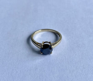 10ct Gold 1ct Black Diamond Solitaire Ring Size J 1/2