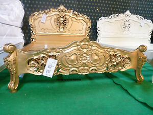 "UK STOCK ~ 4'6"" Double Mahogany French style furniture Baroque Gold Rococo Bed"
