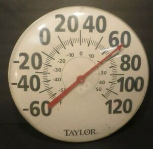 """Large Vintage Taylor 18"""" Jumbo Dial Round Outdoor Hanging Thermometer"""