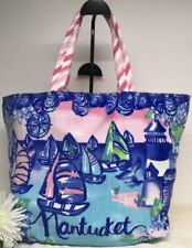 e74d2b8edf68 Lilly Pulitzer NANTUCKET Destination Beach Tote Bag Travel Lighthouse Boat  NWT