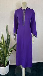 Vintage 1970's Purple Maxi Dress Crimplene Size 16