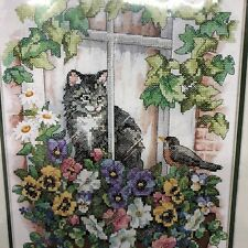 SUNSET DIMENSIONS Cat Springtime View Stamped Cross Stitch #13133 2003