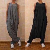 Mode Femme Vintage Sans Manche Jumpsuit Col Rond Casual en vrac Longue Pantalon