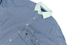 """Polo Ralph Lauren 17"""" Collar Shirt Blue White Striped 24"""" Pit To Pit Contrast Co"""