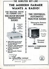 1965 Print Ad of The Hamilton Co PUT 3108 Transistor & Universal Tractor Radio