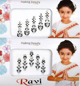 1 PACK of SILVER/BLACK Diamante FESTIVAL Indian BRIDAL Crystal TIKKA BINDI gem