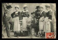 France Brittany Lace Costumes de Fetes de Scaer et Bannalec 1911 PPC faults