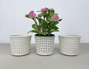 3 X Vintage Dialene Better-Maid Basket Effect Plastic Plant Pot Retro J26