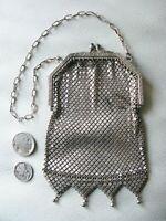 Antique Art Nouveau Silver Floral Frame Blue Jewel 4 Tassel Chain Mail Purse