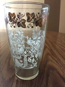 """Cocktail Mixer Glass Martini Shaker 7"""" Tumbler Frost White Fruit Gold Ivy Leaf"""