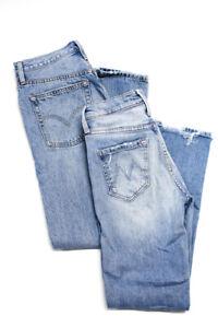 Mother Levi's Womens Tom Cat Ankle Jeans Blue Cotton Size 24 25 X 28 Lot 2