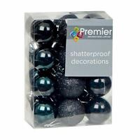 Christmas Tree Decoration 24 Pack 30mm Mini Shatterproof Baubles - BLACK