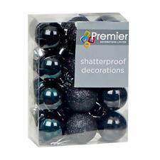 Christmas Tree Decoration 24 Pack 30mm Mini Shatterproof Baubles - BLACK