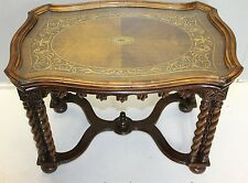 antique french twisted legs  walnut inlaid coffee table with tray