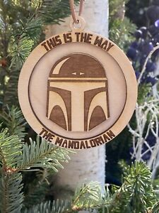 The Mandalorian this Is The Way Helmet layered Christmas Ornament