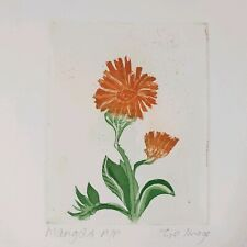 Zoe Image Signed Colour Etching Marigold Artists Proof Flower