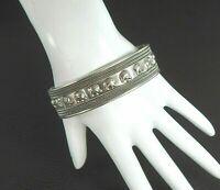 Vintage Bali Cuff Bracelet Elephant Solid 925 Sterling Silver Unisex Men Women L
