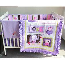 Baby Girls Purple Elephant 8pcs Nursery Crib Cot Quilt Bumper Sheet Dust Ruffle