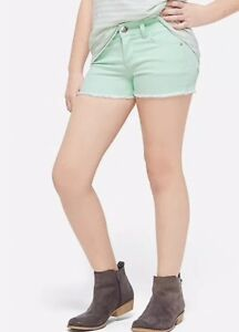 Justice Girl's Size 6 Slim Color Denim Short Shorts in Mint Green New with Tags