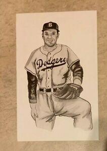 Carl Erskine Brooklyn Dodgers Postcard 1989 Ted Williams Thumper Litho Baseball