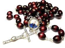 Saint Maximillian Kolbe wooden cherry relic rosary 4 drug addictions, prisoners