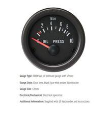 52mm Barra de presión de aceite de calibre 0-10 Coche Cara Negra Con Lente Claro