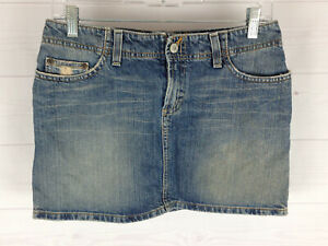 BKE womens size W27 blue faded distressed med wash 100% cotton mini denim skirt