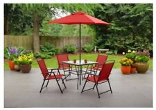 Mainstays Albany Lane 6-Piece Outdoor Patio Dining Set Folding RED