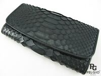 PELGIO New Genuine Python Belly Skin Leather Trifold Clutch Wallet Purse Black