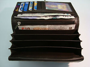 Large Ladies Leather Purse Wallet Organiser Many features Top Brand Brown