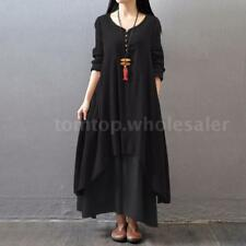 Retro Womens Plus Size Loose Cotton Linen Maxi Long Kaftan Dress Black 5XL
