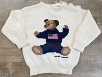 Ralph Lauren Polo Flag Teddy Bear Sweater Baby Size 12-24 Months Cream White NEW