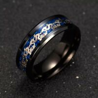 Black Stainless Steel Ring With Gold And Blue Dragon Carbon Fiber Band
