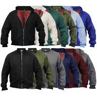 mens Harrington jacket coat retro vintage bomber tartan check lined casual new