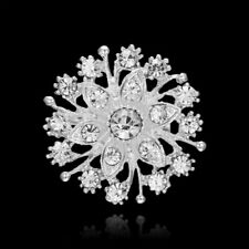 Fashion Crystal Flower Brooch Pins Bouquet Christmas Wedding Bridal Women Gift