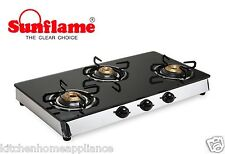 3BAuto Sunflame Auto Ignition Classic Three Burner Glass Top Gas Stove 3 Burner