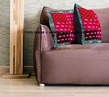 Indian Ethnic Silk Patchwotk Kantha Cushion Cover Covers Handmade 16x16 decor 40