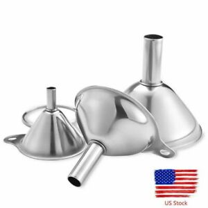 3pcs Stainless Steel Funnel Set Small Metal Portable Funnels Metal Kitchen Tool