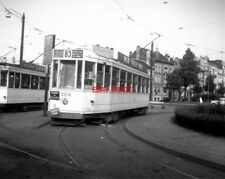 PHOTO  BELGIUM TRAMS 1959 BRUXELLES SCHAERBEEK STIB TRAM NO TRAM NO 5014 ON ROUT